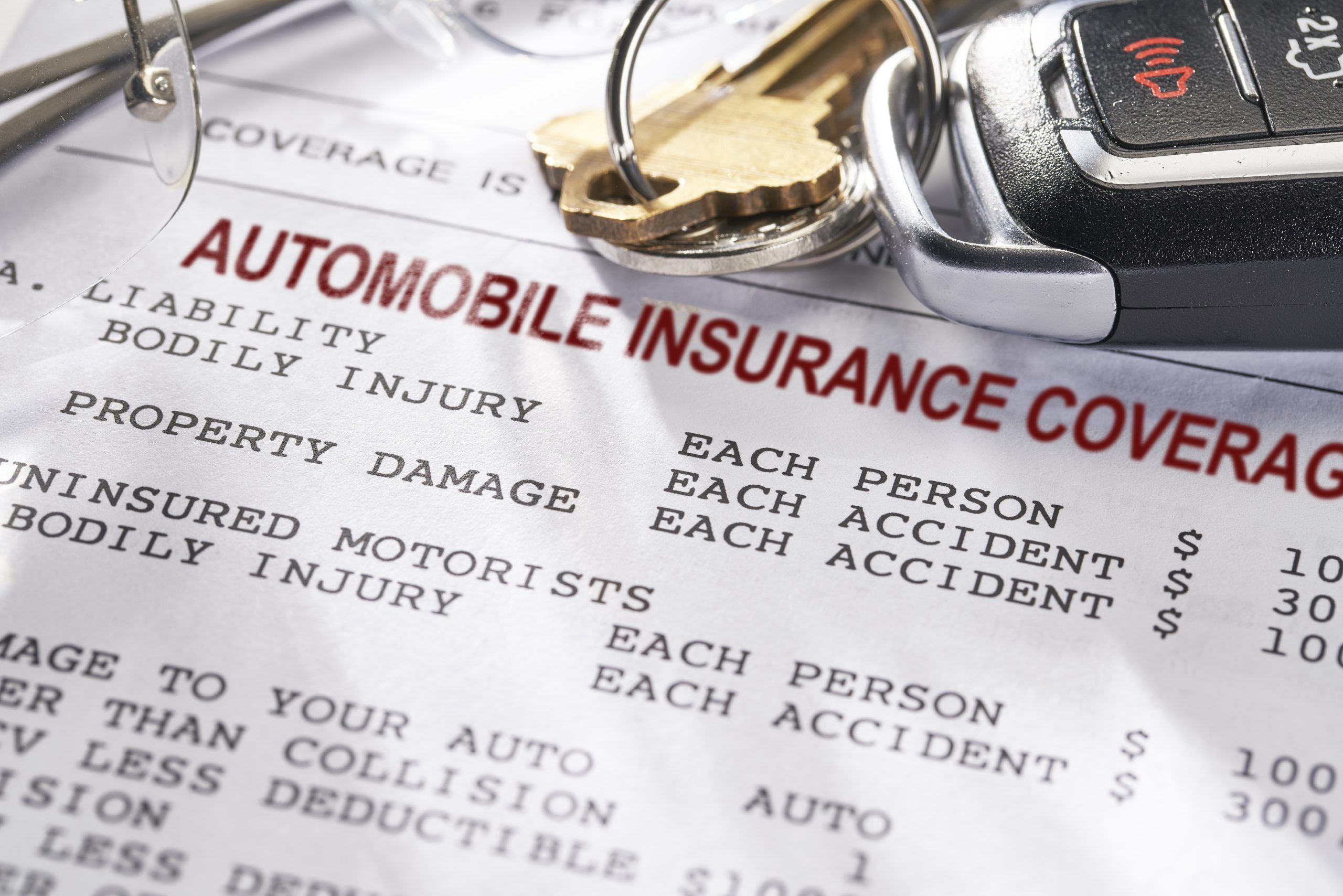 Piece of paper with the words automobile insurance coverage on it.