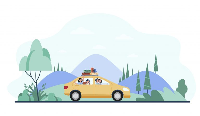 Illustration of a family riding in a yellow car with luggage on top. The car is driving down a scenic road. This family is safer due to PIP laws in Kentucky.