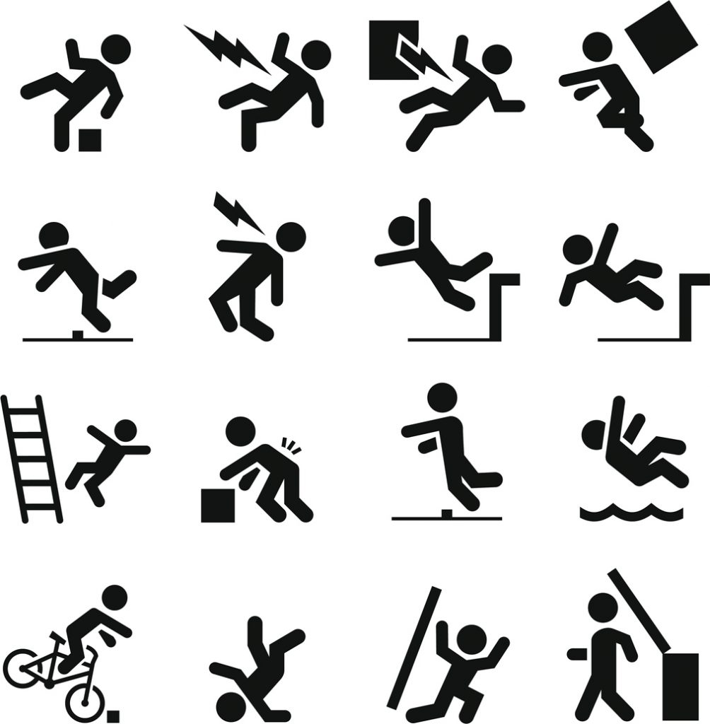 Several different safety icons in black representative of premises liability case
