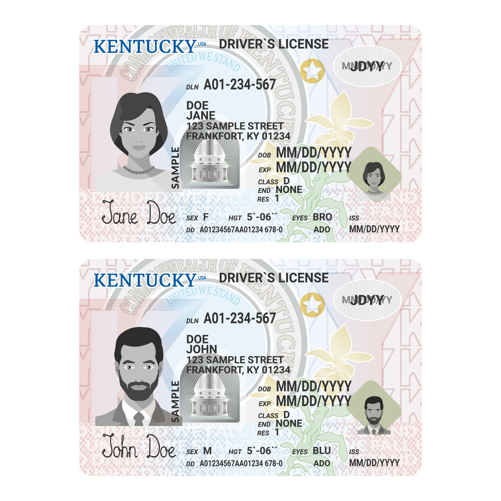 Template of new driver's license in kentucky.