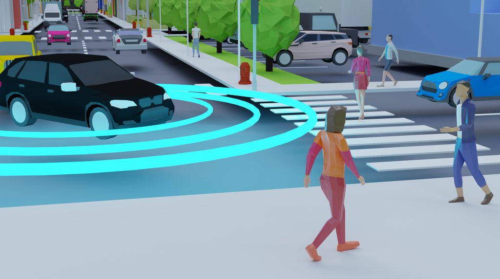 Illustration of a motor vehicle turning and a pedestrian woman walking across a street.